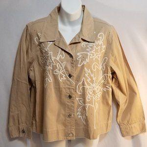 Alex Kim Sequin Embellished Womens Shirt Jacket M